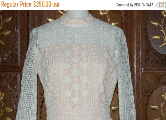 ON SALE 1960s Embroidered Sheer Organza Dress with