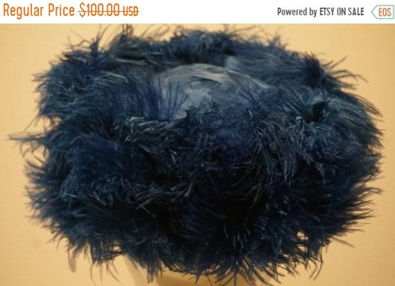 d835ca5ea13 Vintage 1960s Blue Ostrich Feather PillBox Hat   Etsy