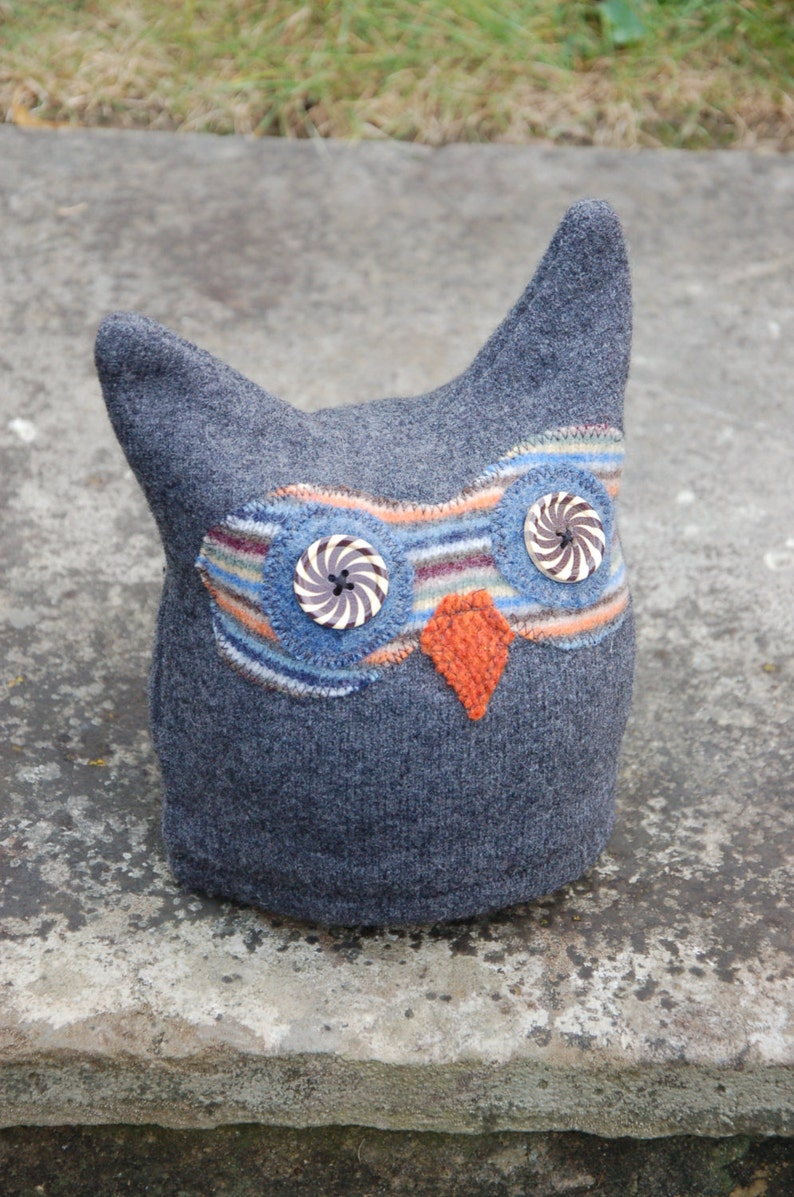 Upcycled Felted Wool Owl Hat image 0