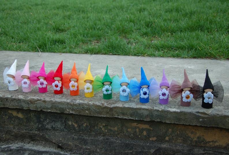 Complete set of 12 Rainbow Flower Fairy Dolls image 0