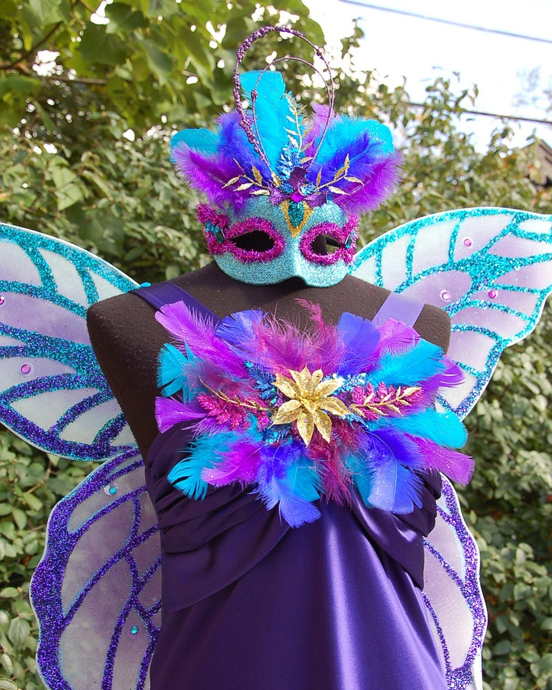 Enchanted Indigo Glitter Fairy Costume image 0