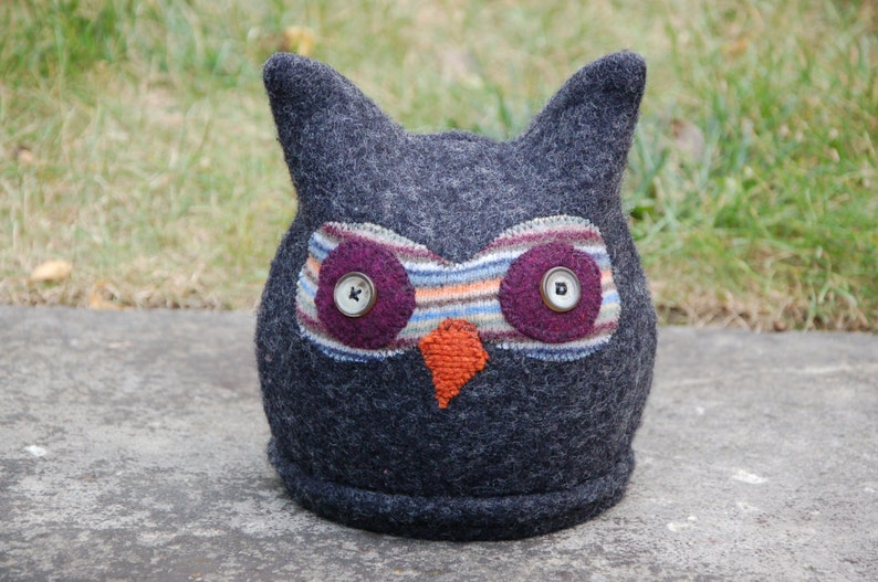 Upcycled 100% Felted Wool Sweater Owl Hat image 0