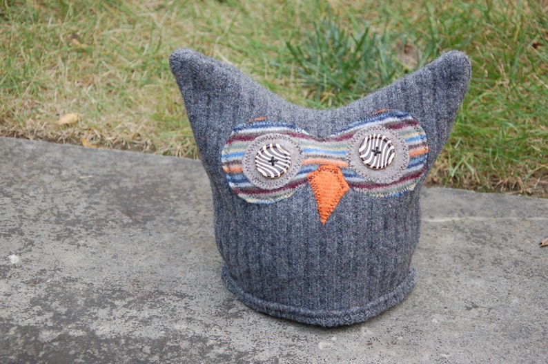 Upcycled Wool Felted Owl Hat image 0