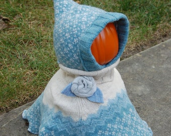Girl's Baby Blue Wool Turtle Neck Cape and Hat Set