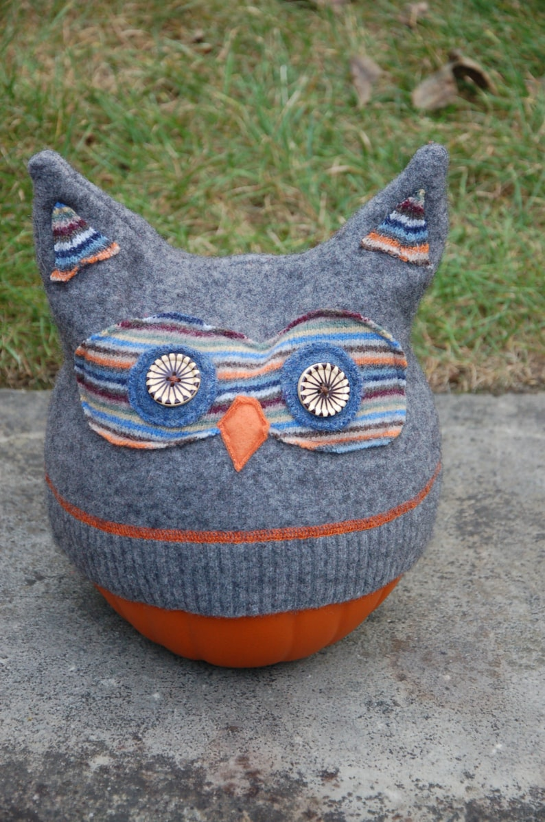 Upcycled Felted Sweater Wool Owl Hat image 0