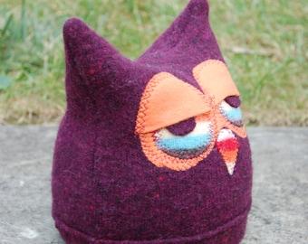 Sleepy Felted Wool Owl Hat