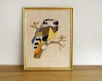 Vintage 1970's Owl Crewel Wall Art / 70's Erica Wilson Design Belgian Linen & Wool Framed Needlework Decor