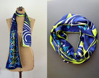 Vintage 1960's Vera Neumann Silk Scarf / 60's Mid Century Oblong Reversible Lucky Ladybug Floral Scarf / Blue, Green & White