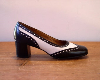 88897a9c098 Vintage 1960 s Spectator Heels   60 s Bally Bellezza Black   White Leather  Stacked Heel Pinpoint Wingtip Pumps