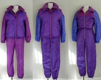 410435d9 Vintage 1980's Skyr Ski Suit / Purple Colorblock Two Piece Reversible Ski  Suit & Puffer Vest