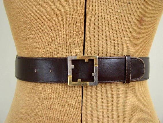 Vintage 1980's Salvatore Ferragamo Belt 80's Designer Ferragamo Silver & Gold Logo Buckle Brown Italian Leather Belt
