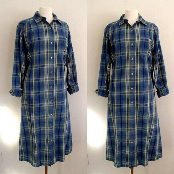 Vintage 1990's  L.L. Bean Womens Flannel Shirtdres