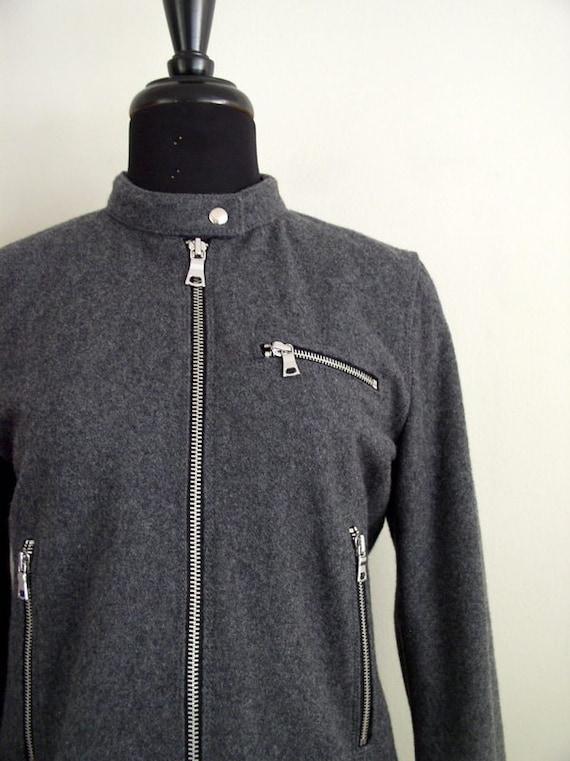 283024245 Vintage 90's Gap Wool Moto Jacket / Seattle Gray Grunge Cafe Racer Coat