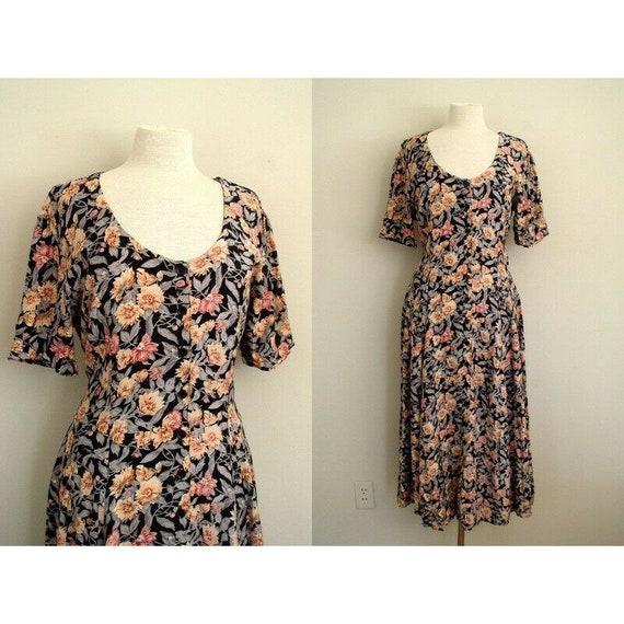 Vintage 90's Starina Dress / Black Floral Cottagec
