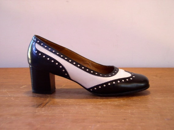3a050c91a4e Vintage 1960's Spectator Heels / 60's Bally Bellezza Black & White Leather  Stacked Heel Pinpoint Wingtip Pumps