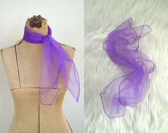 Vintage 1950's Neck Scarf / 50's Rockabilly Sheer Purple Nylon Chiffon Square Scarf
