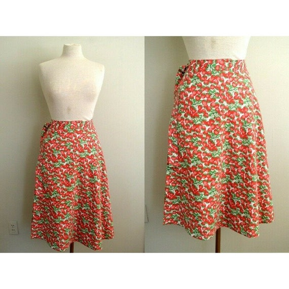 Vintage 1970s Womens Strawberry Floral Midi / Berr