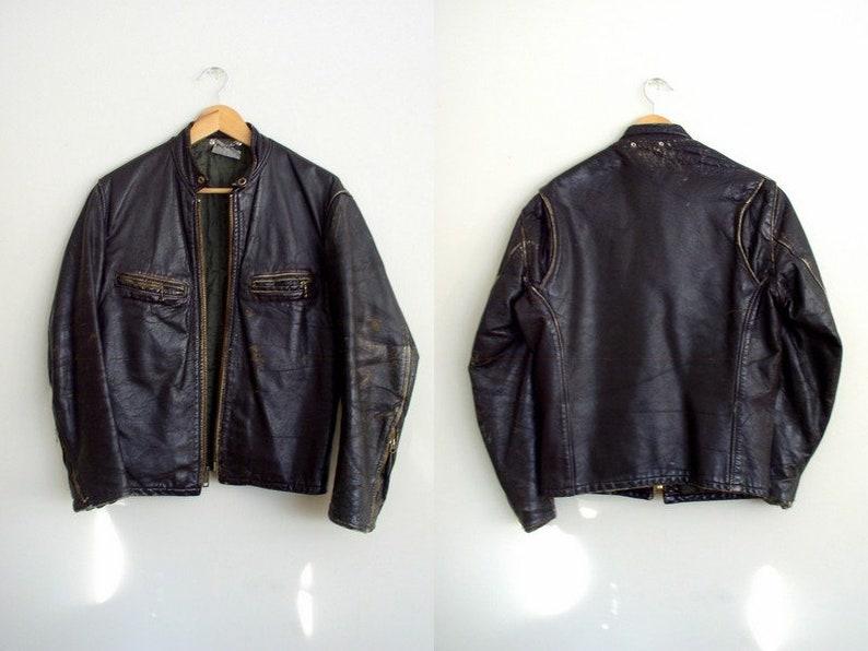 ec574a359 Vintage 1960's Moto Jacket / 60's Distressed Brown Leather Cafe Racer Coat