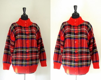 Vintage 1980's Sweater Coat / Into The Woods / 80's I.B. Diffusion Red Tartan Plaid Mohair Cardigan