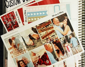 Custom with YOUR Photo Photography Weekly Planner Sticker Kit Vertical Wedding Anniversary Birthday Full Boxes Glossy - Stick to Your Story
