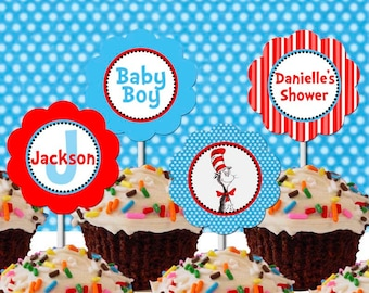 Dr. Seuss Cupcake Topper Baby Shower Printable - Stick to Your Story