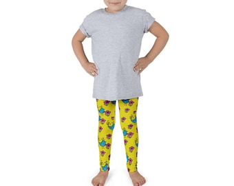 Bluebirds and Flowers Kid's leggings, Blue, Yellow, Purple, Girls fashion, pants