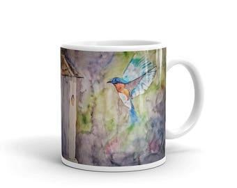 Bluebird Mug, Birdhouse, Bird Watching, Watercolor, Fine Art