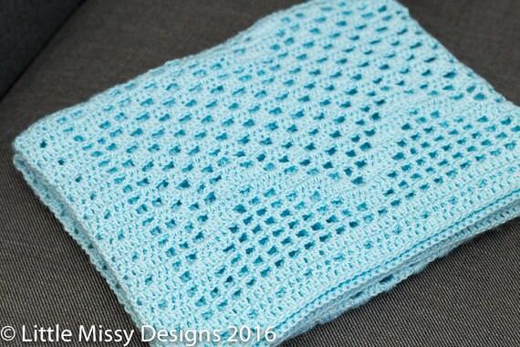Filet Crochet Baby Blanket Pattern Bondi Waves Etsy