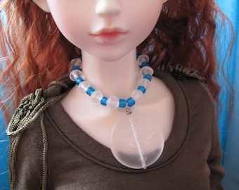 BJD SD 1/3 Doll Icy Blue Frozen White Dragonfly Necklace