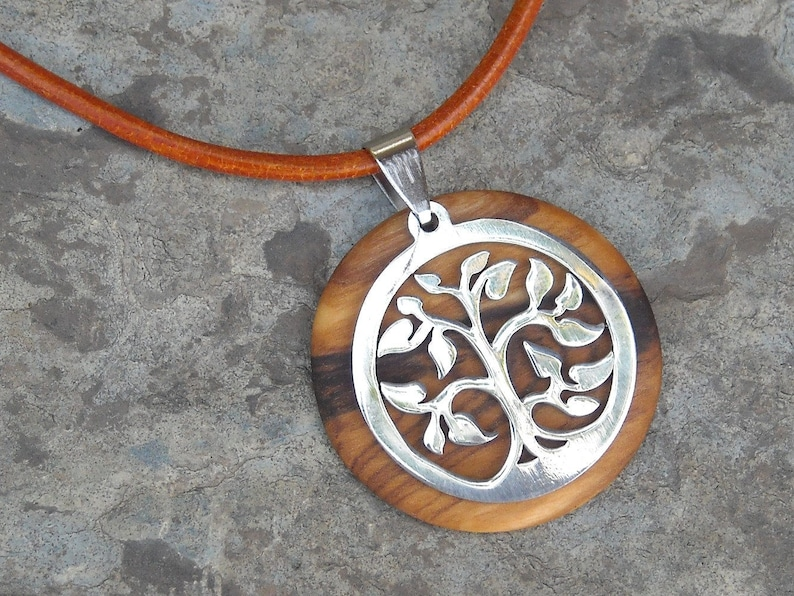 Necklace olive wood Tree of Life pendant leather stainless steel natural wooden jewelry handmade alentejoazul olive tree portugal hippy boho