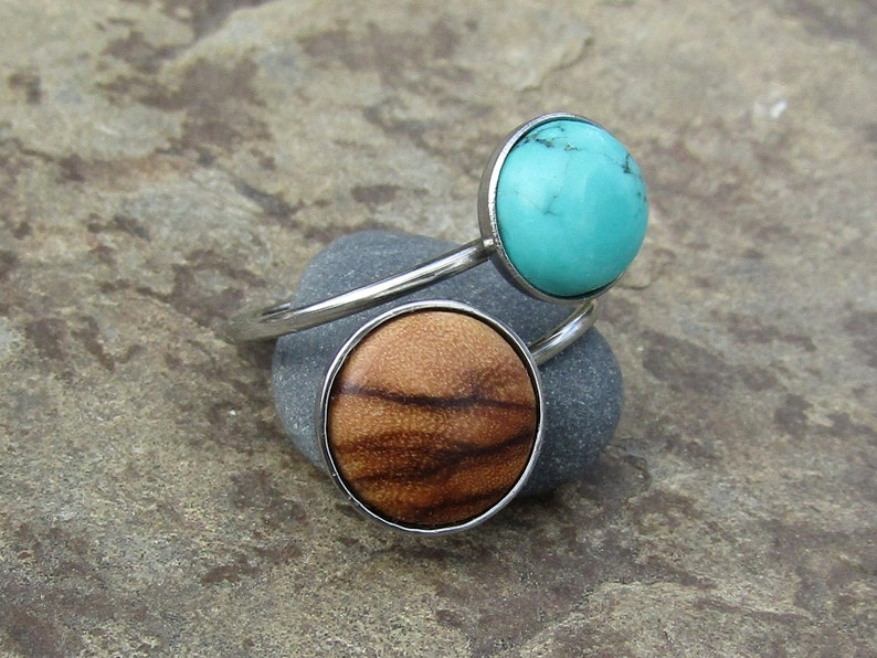 double ring olive wood turquoise howlite stainless steel adjustable cabochon wooden jewelry Hypoallergenic alentejoazul olive tree vegan