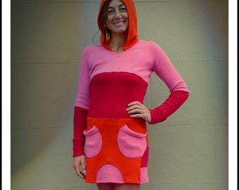 Upcycled Hoody Dress Pink Red Orange Cashmere                                      Made in England UK