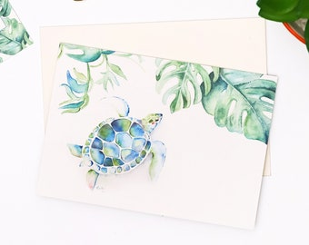 Sea Turtle Card - Blank Greeting Card Designed With My Original Watercolor Seaturtle Artwork on Super Thick Cardstock, Inside Green