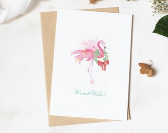 CHRISTMAS CARD, Pink Flamingo and Wreath Designed Using My Original Watercolor Art, Tropical Merry Christmas Greeting Warmest Wishes