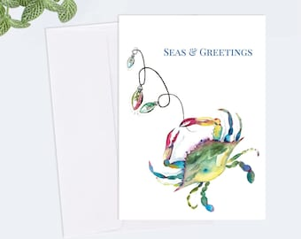 10 Cards Coastal Christmas Seas and Greetings Card Designed With My Original Watercolor Crab with Holiday Lights Artwork