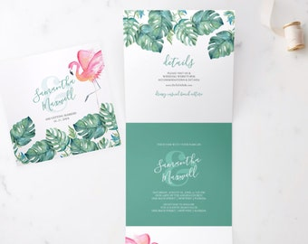 TRIFOLD WEDDING INVITATION, Tropical Florida Keys Pink Flamingo and Watercolor Monstera Palm Leaves
