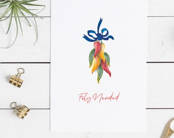 Pack of 10 Christmas Folded Cards with white envelopes, Watercolor Chili Peppers Feliz Navidad
