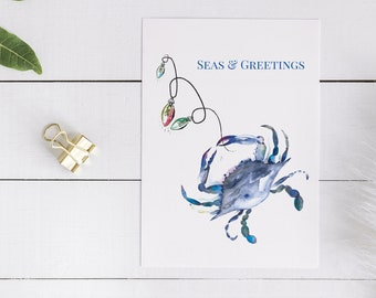 Blue Crab Card - Seas and Greetings Card Designed With My Original Watercolor Crab with Coastal Christmas Lights Artwork