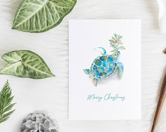 Pack of 10 Folded Cards with White Envelopes Watercolor Sea Turtle by Victoria Grigaliunas