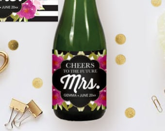 diy champagne label editable ms word template floral black white stripes bridal shower decor brunch and bubbly bachelorette party favor