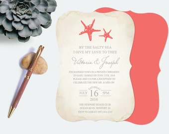 elopement announcement wedding invitation marriage destination diy printable tropical beach theme party engagement starfish coral