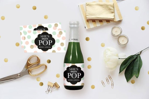 diy champagne label editable ms word template baby shower etsy