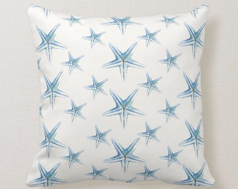 Watercolor Starfish Throw Pillow in Shades of Blues on a cream white background Square Marine Life Beach House Decor