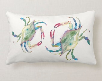 Watercolor Crab Throw Pillow in Shades of Reds, Greens, Blues and Turquoise on a cream white background Square Marine Life Beach House Decor