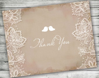 Vintage Inspired Lace Thank You Card - 5.5 x 4.25 - A2 - Printable Blank Note Card, Pink Notecard, Shabby Chic, Rustic Bridal Stationery