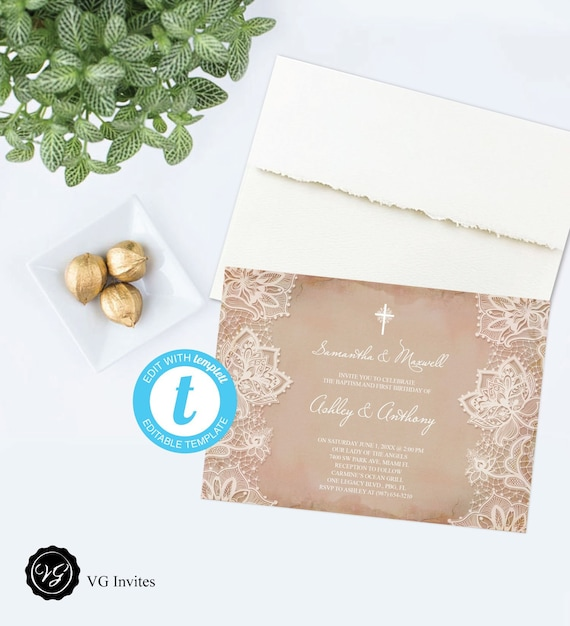 First Communion Invitation Printable Holy Cross Religious Etsy