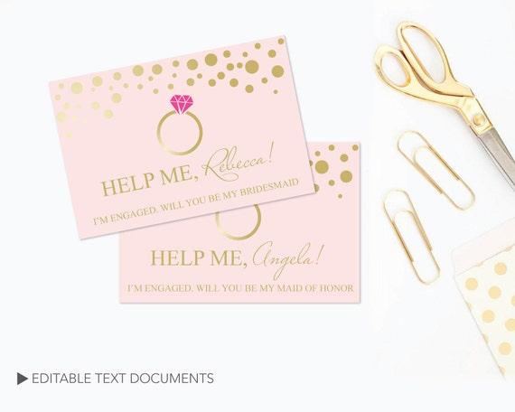 Diy Bridesmaid Proposal Card Templates Editable Text Ms Word Etsy