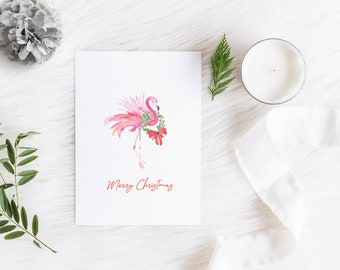 Christmas Cards Pack of 10 Folded Cards with White Envelopes Watercolor Pink Flamingo by Victoria Grigaliunas