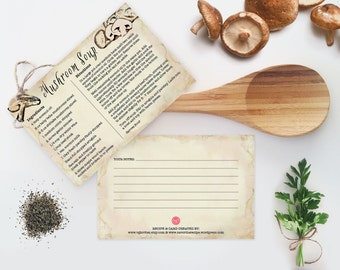 Dairy Free Cream Of Mushroom Soup ~ Recipe Card, 4x6, Printable, Cooking, Hostess or Teacher Kitchen Shower Gift, Instant Download Recipes