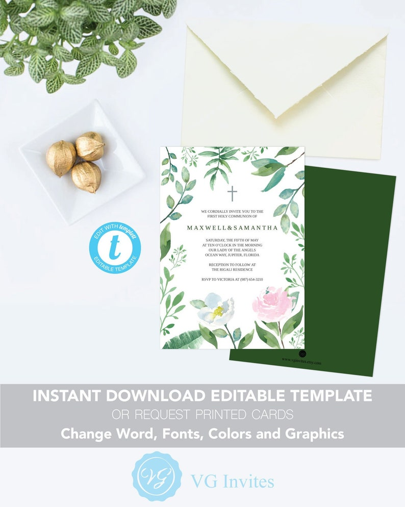 Downloadable Twins Baptism Invitation or eVite Rose Watercolor Floral Leaf Gender Neutral Greenery Baby Blessings Self Editable Template
